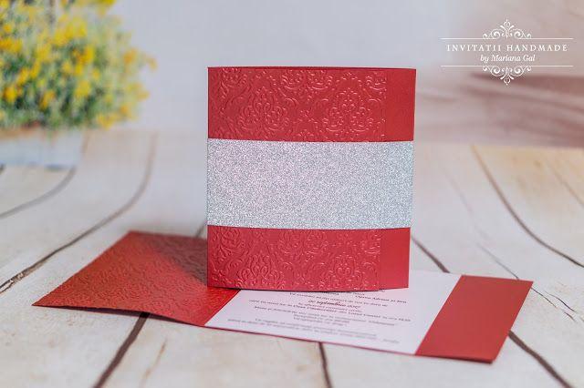 INVITATII HANDMADE by Mariana Gal: Invitatie rosu / argintiu