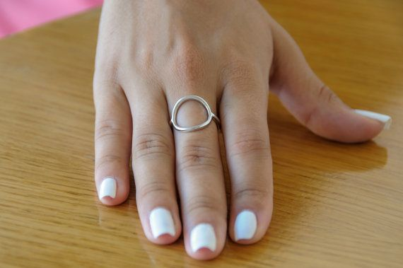 Silver circle ring Gold circle ring 925 sterling silver Circle ring Circle 13mm