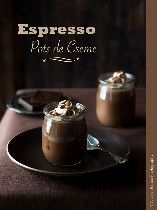 A great recipe for espresso pots de creme topped with espresso-flavored whipped cream and drizzled with a sweet coffee sauce.