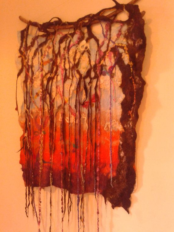 felted wall hanging of a sring tree with by NRCcreationsxxx