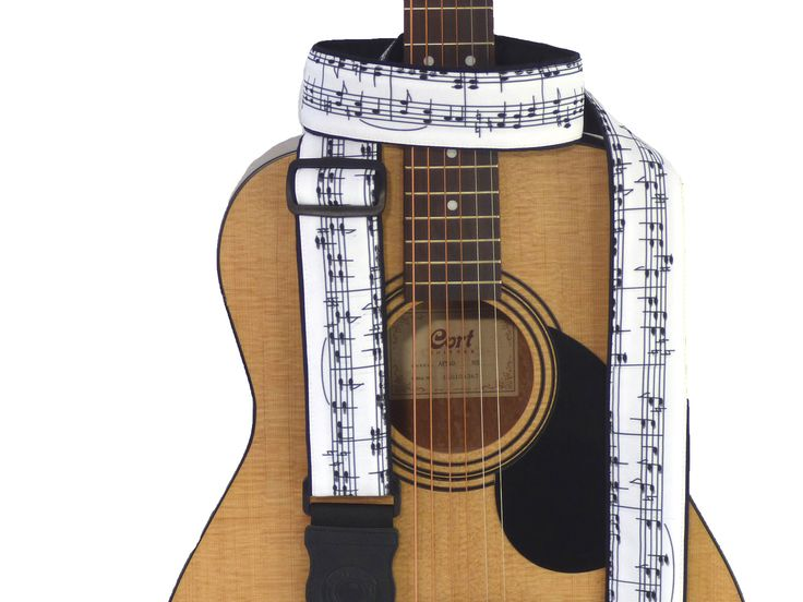 Music Notes Guitar Strap. Black and White. Handmade Guitar Accessory for All Types of Guitars. German Genius Leather endings. Durable cloth. 00312