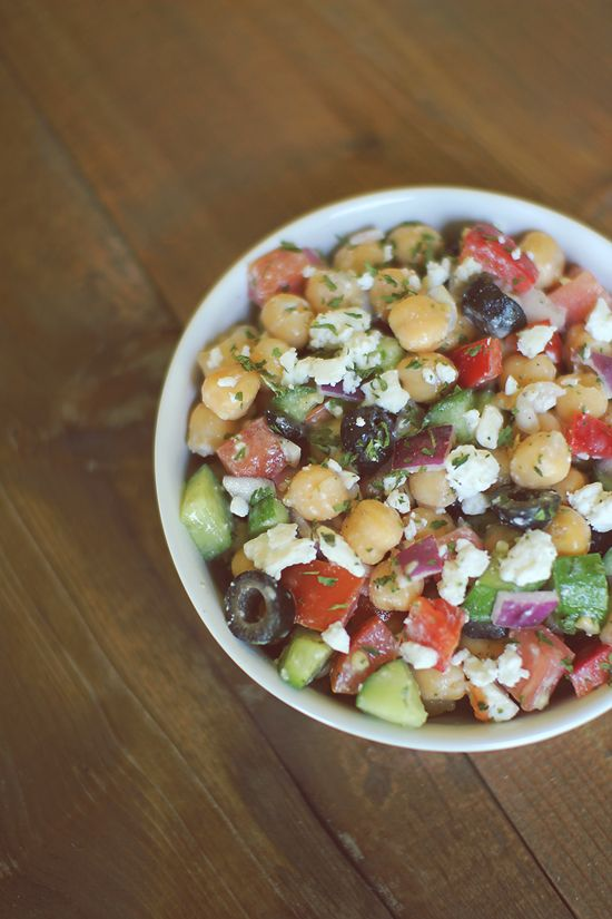 Mediterranean Chickpea Salad- I love bean salads because you can make one and then divide the salad into containers and you have an easy/healthy lunch ready to go all week :)