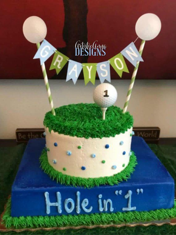 Superb Golf Ball Cake Bunting Topper Hole In 1 Cake Topper 2 Pc Etsy Birthday Cards Printable Trancafe Filternl
