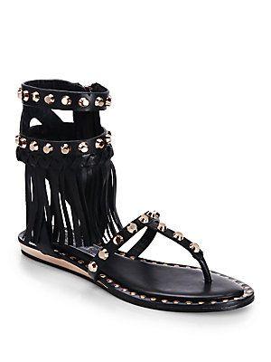 Ivy Kirzhner Barbados Studded Fringe Flat Leather Sandals