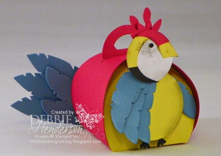 Stampin' Up! Curvy Keepsakes Box Die & Feathers Die Parrot. Debbie Henderson, Debbie's Designs.
