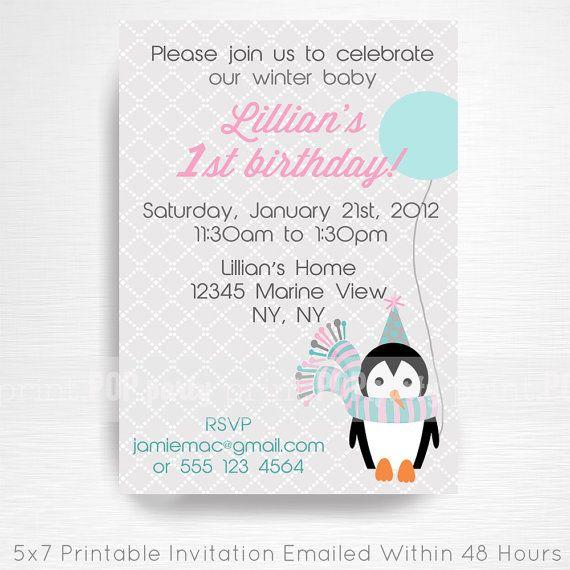 Girl Penguin Birthday Party Printable Invitation - YOU Print