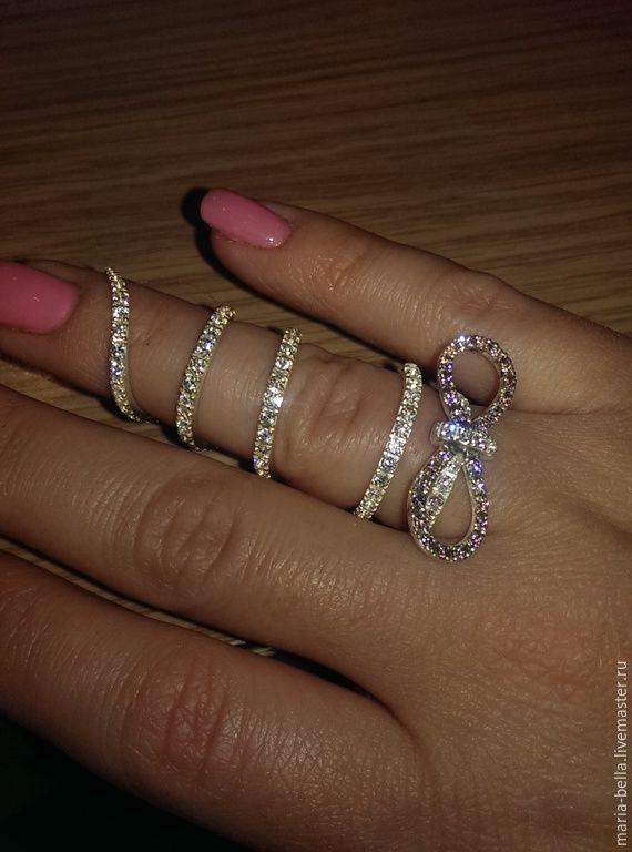 Купить Женевьева. Серебряное кольцо с цирконами на две фаланги - разноцветный, кольцо на весь палец