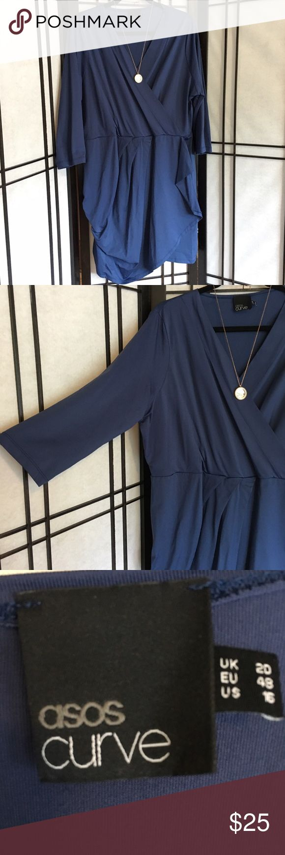Asos Dress - Steel Blue Asos Curve mini dress with faux wrap and v-neck Dresses Mini