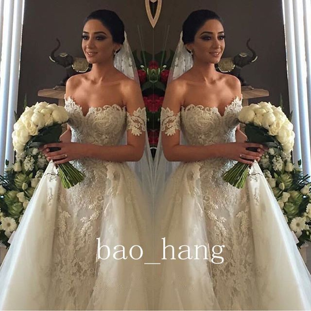 2016 Off Shoulder Detachable Train Wedding Dress Crystal Lace Beads Bridal Gowns