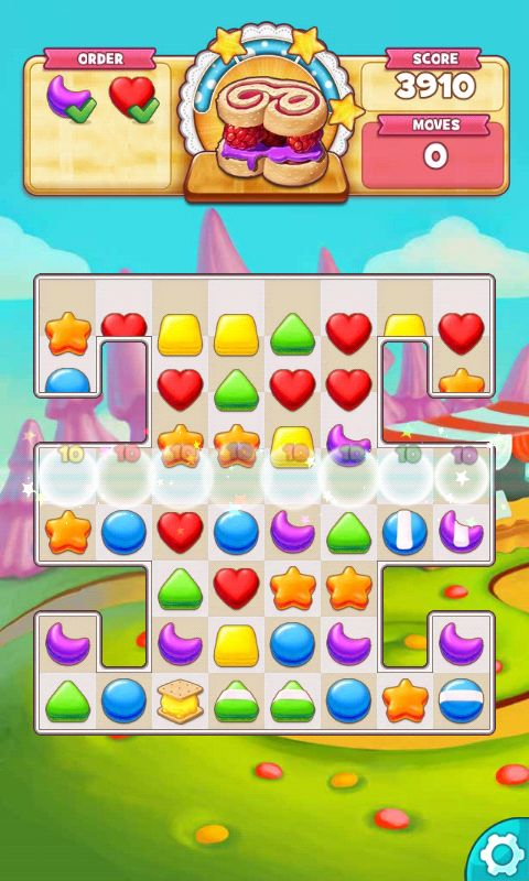 Cookie Jam, Action Phase / Game Play, Fill The Order - Match 3 Game - iOS Game - Android Game - UI - Game Interface - Game HUD - Game Art