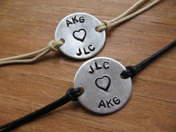 Couples bracelets personalized bracelets by GracensDesigns