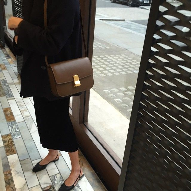 MATTE & SEQUINS black blazers and black midi skirt black sling back flats and a Celine brown tote style fashion simple