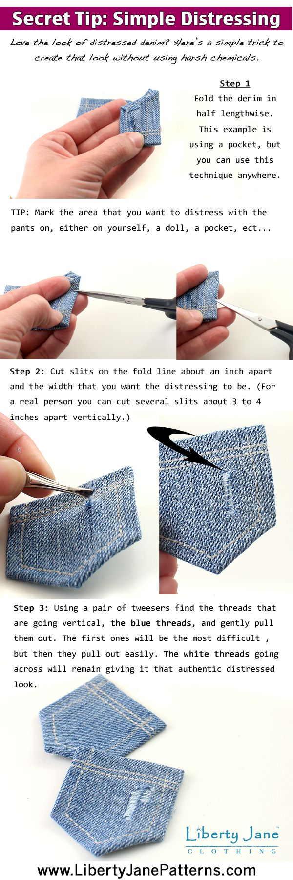 Simple technique to distress denim without harsh chemicals! DIY Step by Step Tutorial (Tip for sewing the back pocket is also on this board)