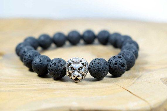 Men's Black Lava Beads Bracelet with Lion by AlterDecoCoinsnBeads #lava #energy #fortune #gemstone #bracelet #menbracelet #boho #boho man #boyfriend gift