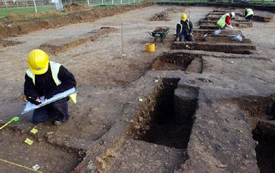 UK flood maps reveal lost Roman roads.  Aerial flood maps of Britain are revealing more than just at-risk regions - they have also led to the discovery of several Roman roads. Maps of the UK, designed to detect the regions most at risk of flooding, are also  helping amateur archaeologists to unearth previously undiscovered Roman roads.  Pictured, file image of archaeologists at the ruins of a Roman site  in Colchester [Credit: PA]