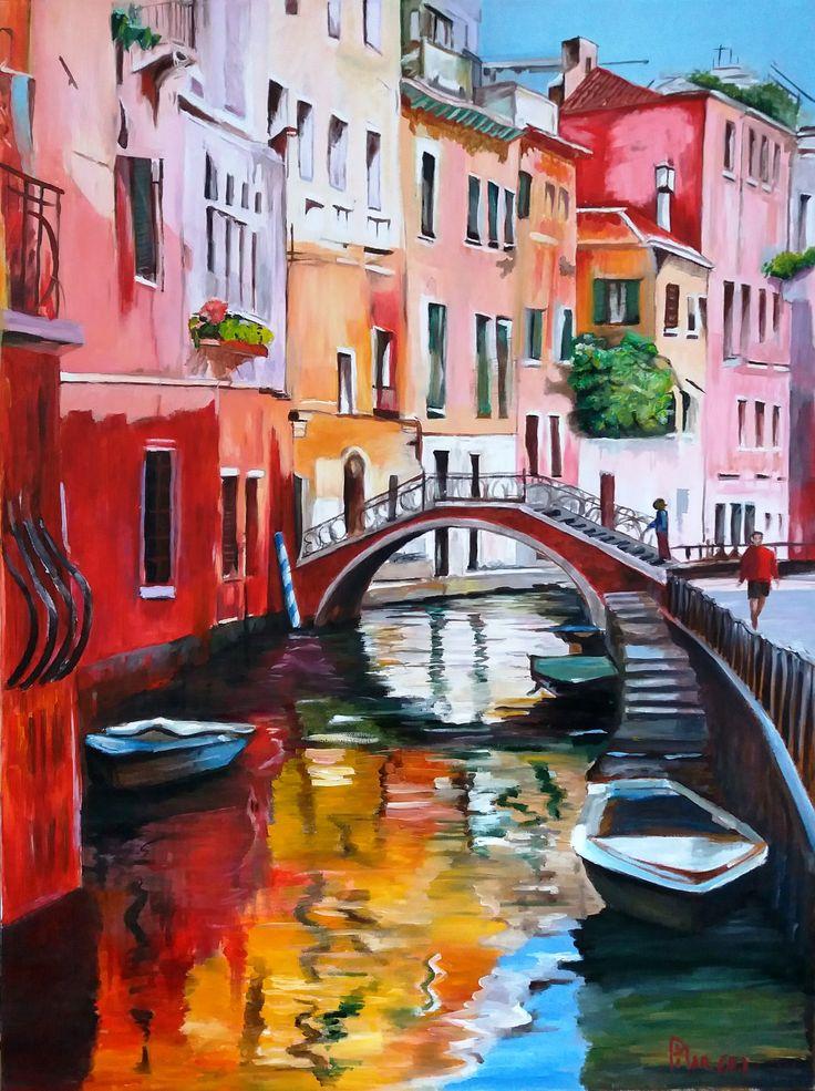Pilar Diez Paisaje urbano Venecia óleo sobre tela de 50 x 70 cms (Réplica)