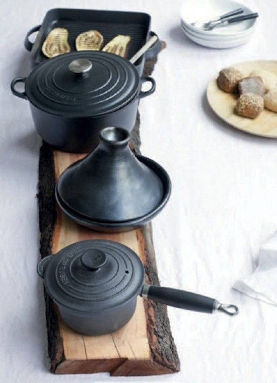 rustic wood trivet idea w black le cruesets