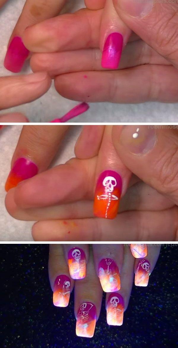 Neon Skeletons Halloween Nails.