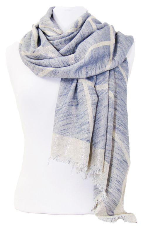Foulard carreaux bleu gris et or. Découvrez sur mesecharpes.com + de 150  foulards chèches pour femmes et hommes. Port gratuit et paq… 8f559c78383