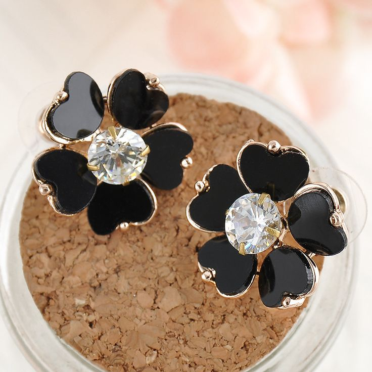 Black Five petals Crystal Sunflower Stud Earrings for women Fashion Crystal Jewelry Lovely  FREE Gift