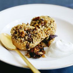 Roasted pears with chocolate & walnut crumble