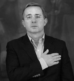 Alvaro Uribe Velez. (born 4 July 1952) is a Colombian politician who served as the 58th President of Colombia from 2002 to 2010. In August 2010 he was appointed Vice-chairman of the UN panel investigating the Gaza flotilla raid.[1]    Uribe started his political career in his home department of Antioquia. He has held office in the Empresas Públicas de Medellín and in the Ministry of Labor and in the Civil Aeronautic.