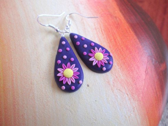 flower earrings polymer clay filigree spring gift for her birthday unique  by FloralFantasyDreams on Etsy