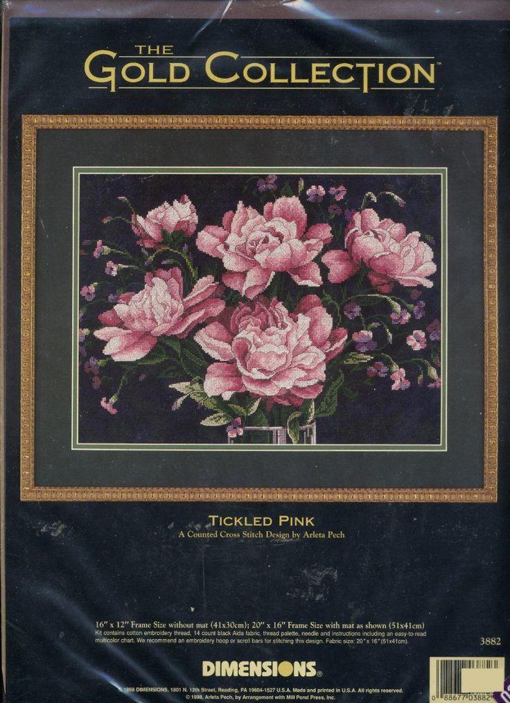 Набор для вышивания Dimensions 3882 Tickled Pink Розовые пионы