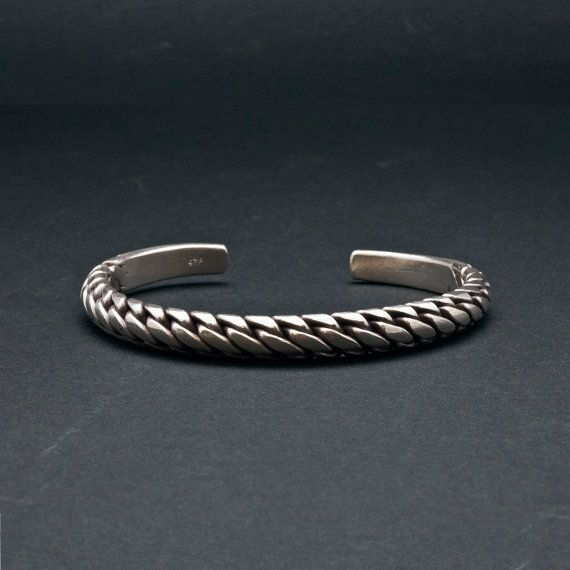Silver Braided Bracelet Sterling Silver Bracelet by SunSanJewelry
