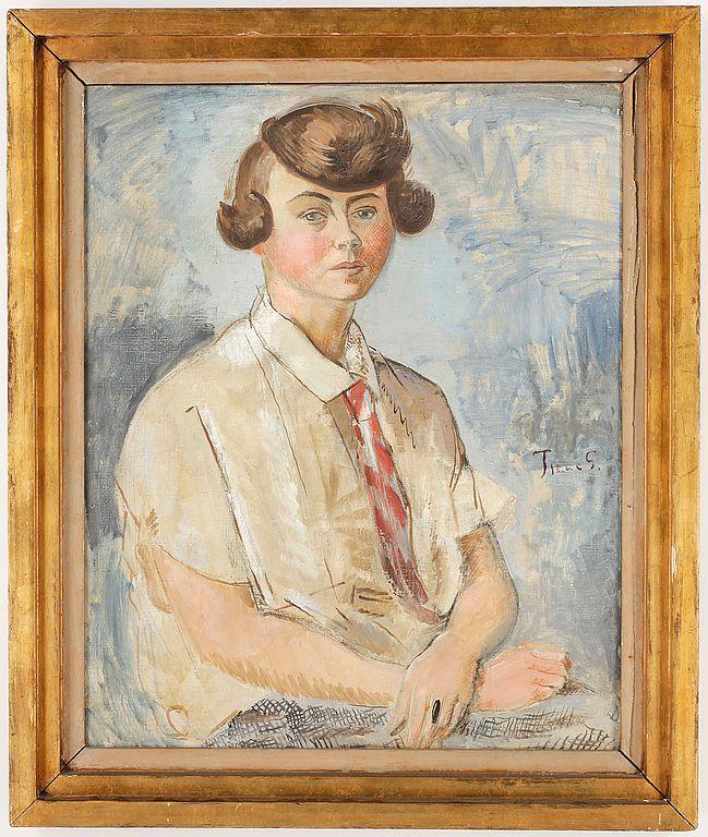 ISAAC GRÜNEWALD (1889-1946) Porträtt av fröken Ingeborg Markström. 81 x 65 cm. olja på duk, signerad.