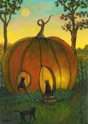 'Welcome to Our Pumpkin' by Kathe Soave, ACEO halloween cats art card