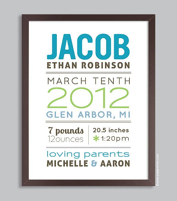Custom Birth Name Print 11x14 Nursery Wall Art Print (baby name and birth stats) pink & green. $36.00, via Etsy.