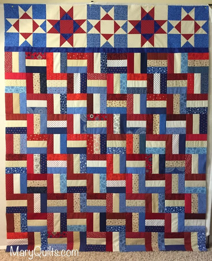 Making Scrap Quilts from Stash Patriotic Rail Fence free pattern here