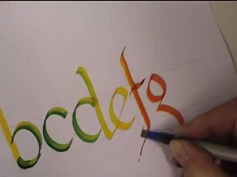 Calligraphy With Changing Colors - Touch one marker to another