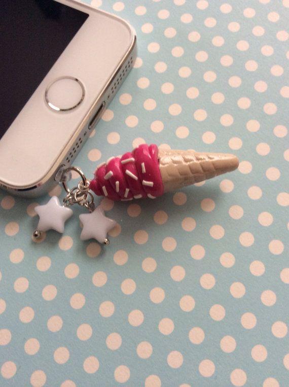 Kawaii Polymer Clay Phone Jack Dust Plug Charm Ice by ExactNature, $6.00