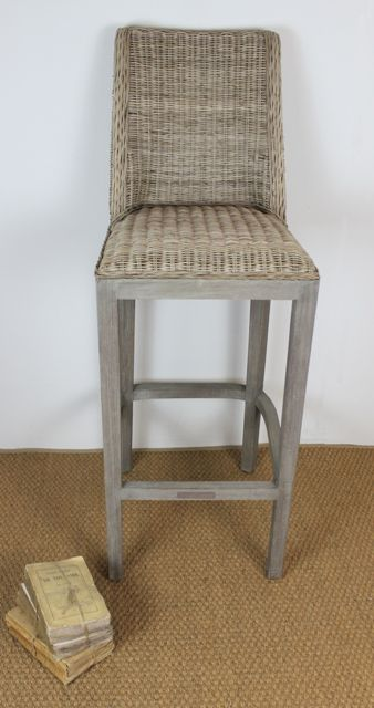 The VR Barstool is new to the Villa Maison collection. Made from our famous Vintage rattan, it has a padded rattan seat and curved back. #frenchinspired #rattan #greywash