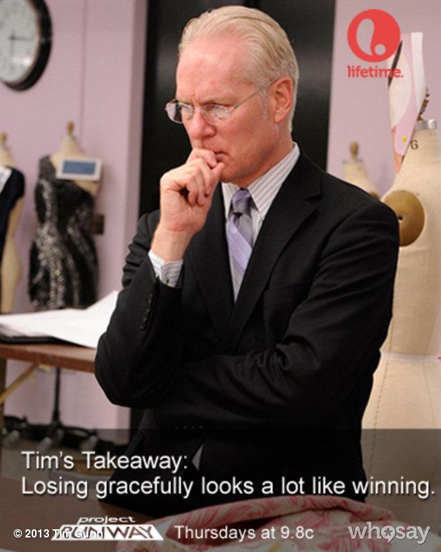 """Tim Gunn's, photo,""""#ProjectRunway Takeaway: Losing gracefully looks a lot …"""""""