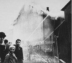 The burning of the synagogue in Ober Ramstadt during Kristallnacht. The local fire-department prevented the fire from spreading to a nearby home, but made no attempt to intervene in the synagogue fire