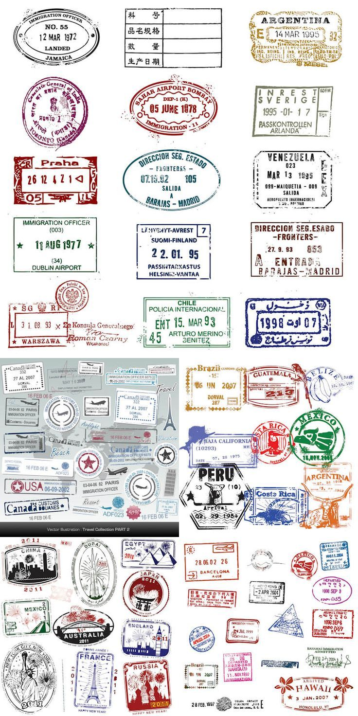 Passport stamps vector. 5 sets with different vector passport stamps from traveling for your designs. Format: EPS stock vector clip art. Free for download. Theme: vector stamps, passport stamps.:
