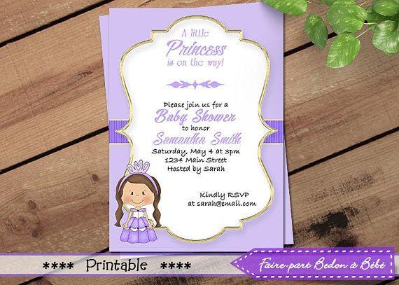 Little Princess Baby Shower Invitation - Little Princesse - Baby shower invitation - Purple little Princesse - Printable Invitation