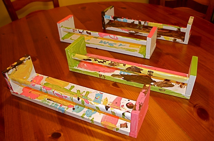 Bookshelves from IKEA spice racks~ Even more special when you let your child paint their own!