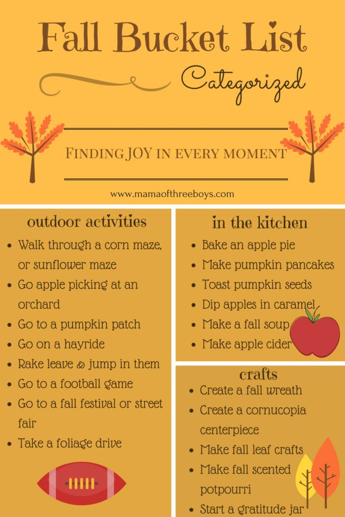 Fall Bucket List, Things to do in the Fall without celebrating Halloween