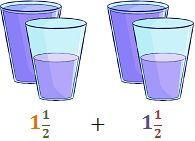 representación de la suma de fracciones mixtas del ejercicio 6