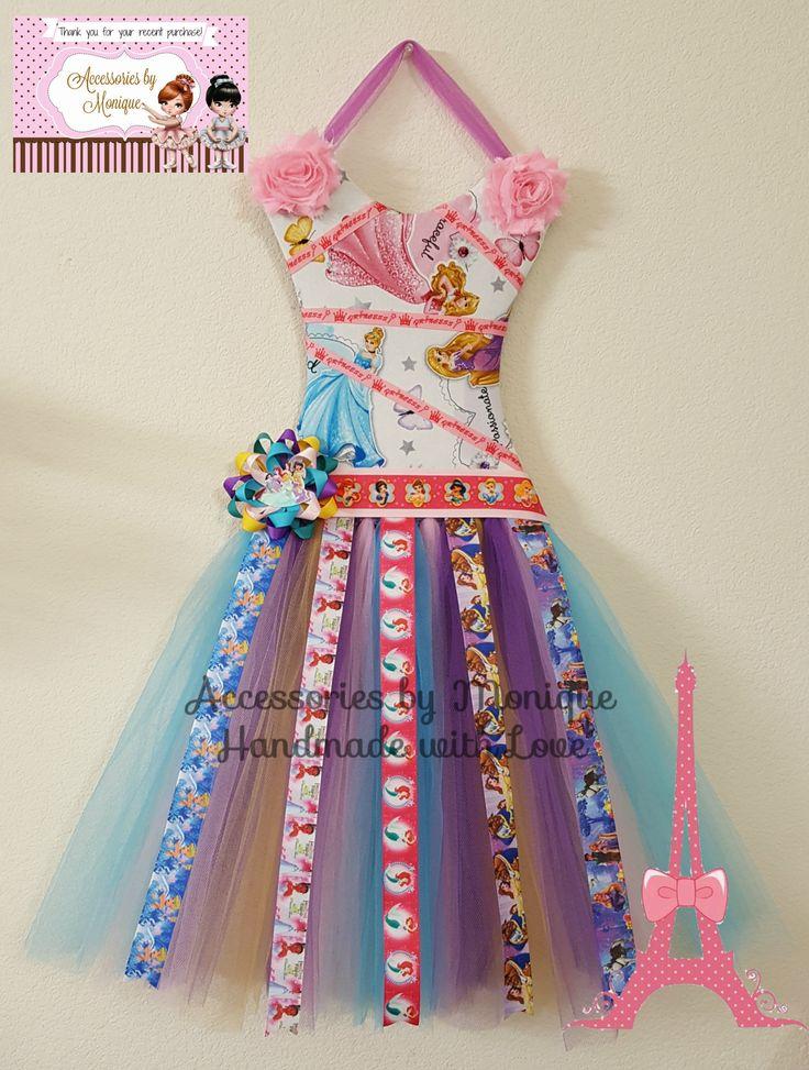 Disney Princess Tutu Dress Hair Bow Holder/Organizer-Princess Headband Holder/Organizer-Hanging Bow/Headband Organizer-Room/Wall Decoration
