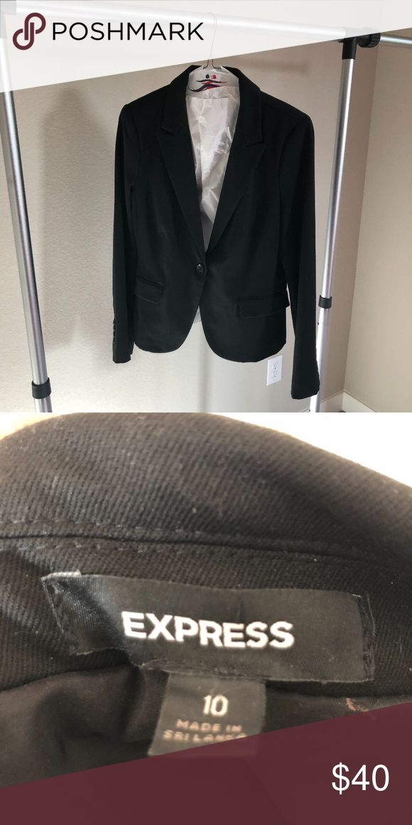 Suit Jacket One button black suit jacket from Express. Only worn twice for interviews. Size 10 (normally I wear a size 6-8 tops). Perfect to pair with jeans or another suit outfit! Express Jackets & Coats Blazers #interviewoutfits