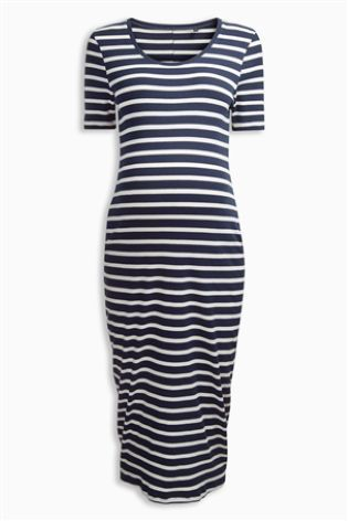 Ecru/Navy Stripe Maternity Rib Dress