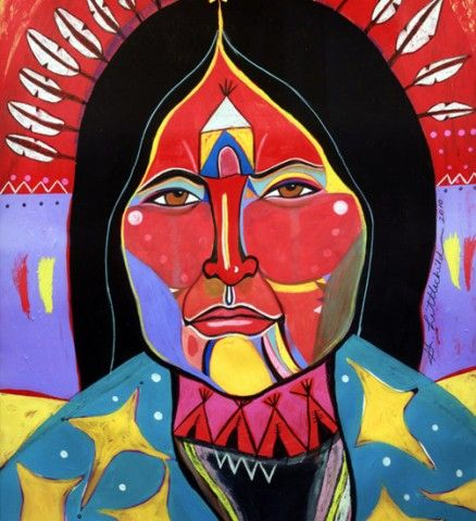 """""""She Walked Across the Stars"""" by Cree (First Nations) artist George Littlechild"""