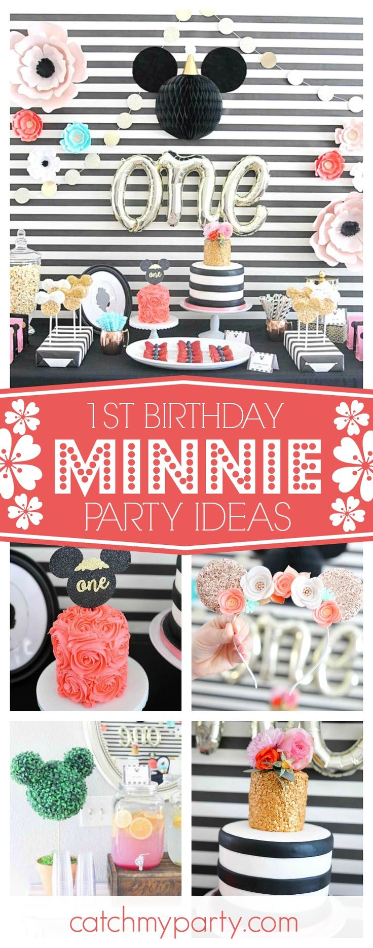 This Minnie 1st birthday is amazing! The dessert table and decorations are adorable!! See more party ideas and share yours at CatchMyParty.com