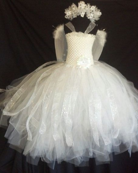 Angel of light tutu costume set is beautiful to behold. Tutu dress is made with hundreds of yards of soft white tulle with glitter ribbon