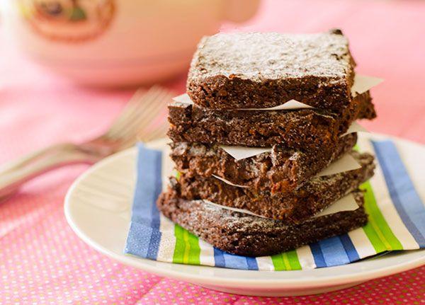 Adzuki Bean Brownies (Gluten-Free, Vegan and Macrobiotic) Recipe Desserts with adzuki beans, chia seeds, coconut sugar, cocoa powder, applesauce, vanilla extract, salt, walnuts, oil, powdered sugar